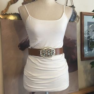 Silver and turquoise buckle brown leather belt